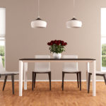 Elegant beige dining room - rendering - the image on background is a my photo